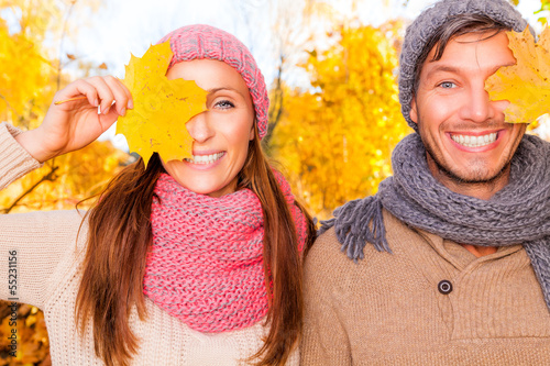 happy autumn fall couple