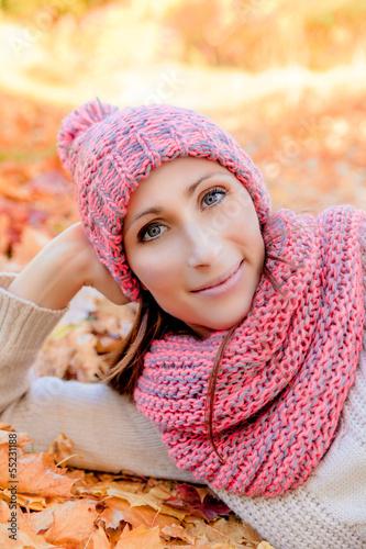 relaxing autumn fall female