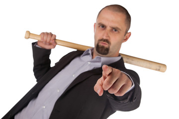 Angry looking man with bat