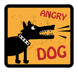 Angry Dog sign, vector illustration