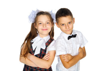 school children elementary school boy and girl