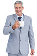 Cheerful businessman holding mug