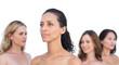 Peaceful nude models posing looking away