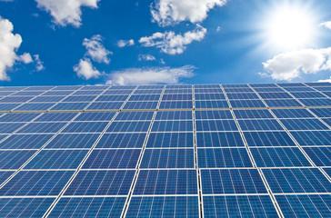 Solar cells, sky and sun