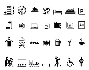 Hotel amenities black and white icon set
