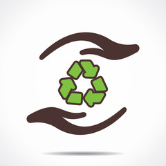 recycle symbol in hand stock