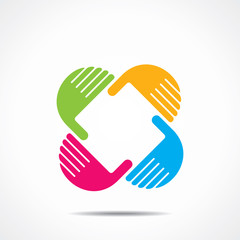 creative hand icon, arrange hand and make square shape