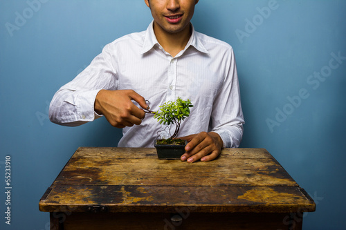 Happy man pruning his bonsai tree