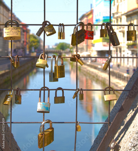 Locks on the bridge, Naviglio - Milan