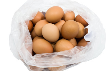 Eggs in a plastic bag.