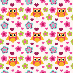 Seamless colorful owl pattern for kids in vector