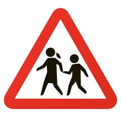 School sign, roadsign with warning for crossing children