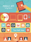 Vector mobile app infographics in flat style