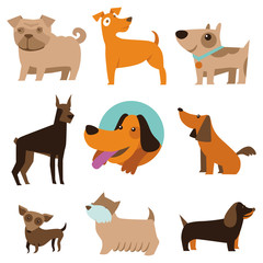 Vector set of funny cartoon dogs