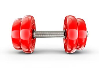 red dumbbell