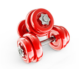 red dumbbells
