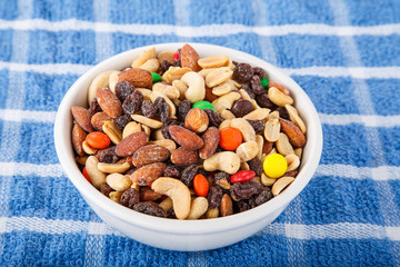 Trail Mix in Bowl on Blue Towel