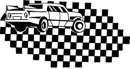 Racing car and checkered flag. Vinyl-ready vector design.
