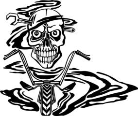 Skull and motor. Vinyl-ready vector design.