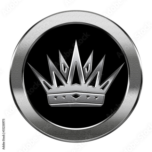 Crown icon silver, isolated on white background.