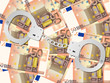 handcuffs on fifty euro background