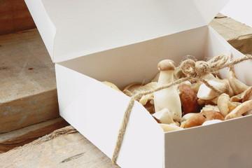 Box with mushrooms