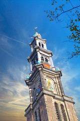 Beautiful view of Westerkerk in Amsterdam the Netherlands