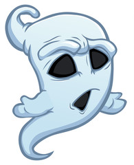 Shocked white cartoon ghost