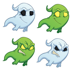 funny cartoon ghost on the white background