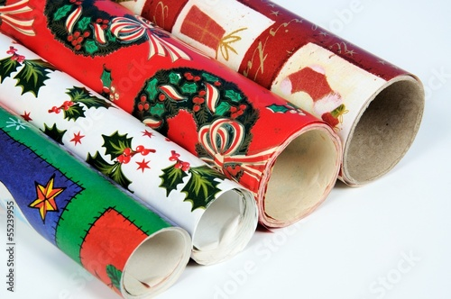Four rolls of Christmas wrap © Arena Photo UK