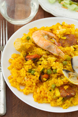 paella on white plate