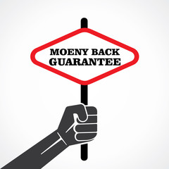 money back guarantee word banner hold in hand stock vector