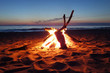 Inviting campfire on the beach - 55241309