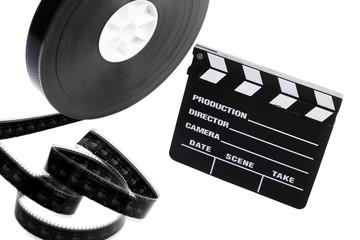 Film reel and cinema clap
