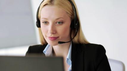 attractive helpline operator in office