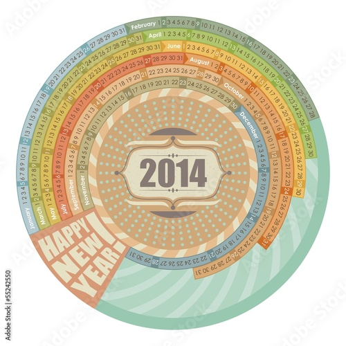 Circular 2014 calendar with highlighted Sundays