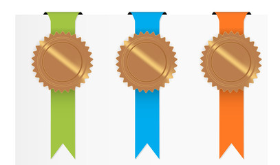 The set of green, blue and orange ribbon with blank seal