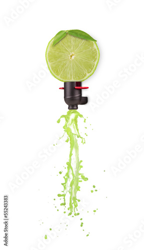 Lime transforming into cider on white background