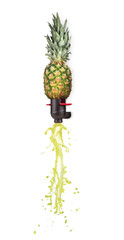 Pine-apple transforming into cider on white background