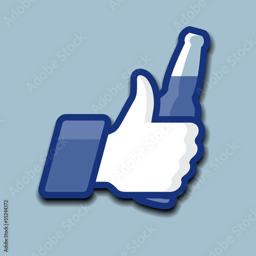 Thumbs Up symbol icon with beer, vector Eps10 illustration.