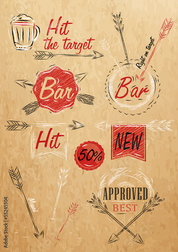 Set collection emblem of Bar, Boom Arrow, symbol stylized drawin