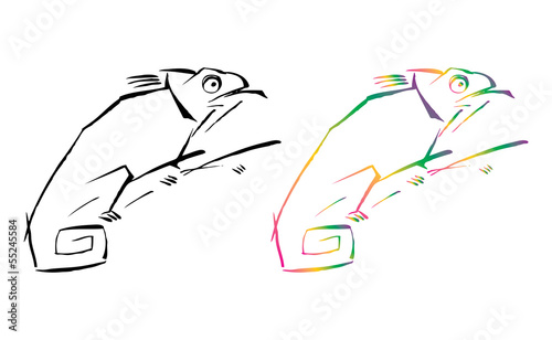 Black and colorful chameleon vector graphic illustration