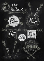 Set collection emblem of Bar, Boom Arrow, symbol stylized on the