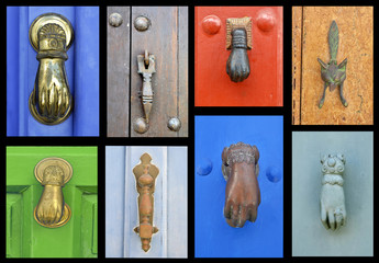 collection of old door knockers
