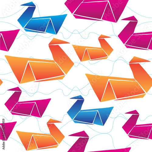 Deurstickers Geometrische dieren ORIGAMI swans vector seamless PATTERN BACKGROUND