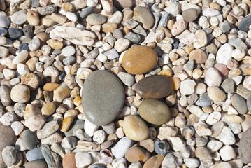 Stone foot on the stony beach