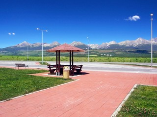 Shelter and High Tatras in summer