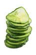 Salatgurke wird in Scheiben geschnitten