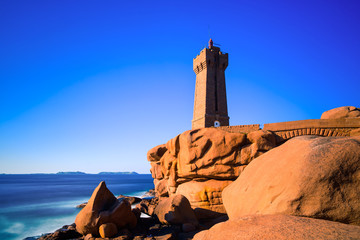 Ploumanach lighthouse sunset, Brittany, France.
