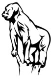 gorilla vector illustration - black and white outline